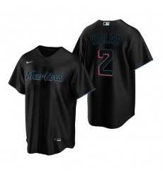 Men's Nike Miami Marlins #2 Jonathan Villar Black Alternate Stitched Baseball Jersey