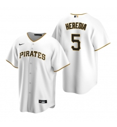 Men's Nike Pittsburgh Pirates #5 Guillermo Heredia White Home Stitched Baseball Jersey