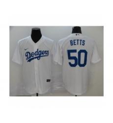 Men's Los Angeles Dodgers #50 Mookie Betts White 2020 Cool Base Jersey