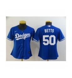 Women Los Angeles Dodgers #50 Mookie Betts Royal 2020 Cool Base Jersey