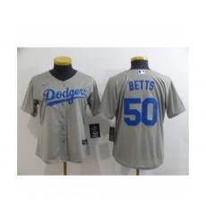 Women Los Angeles Dodgers #50 Mookie Betts Royal Gray 2020 Cool Base Jersey