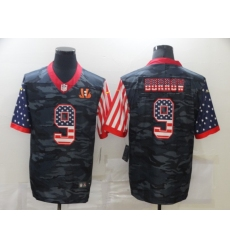 Men's Cincinnati Bengals #9 Joe Burrow Camo Flag Nike Limited Jersey