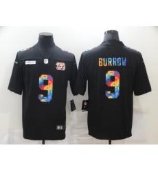 Men's Cincinnati Bengals #9 Joe Burrow Rainbow Version Nike Limited Jersey