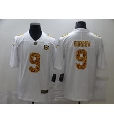 Men's Cincinnati Bengals #9 Joe Burrow White Nike Leopard Print Limited Jersey