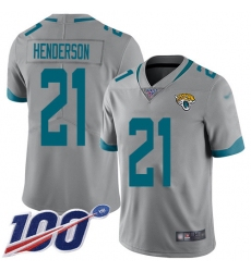 Men's Jacksonville Jaguars #21 C.J. Henderson Silver Stitched Limited Inverted Legend 100th Season Jersey