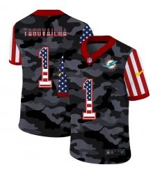 Men's Miami Dolphins #1 Tua Tagovailoa Camo Flag Nike Limited Jersey