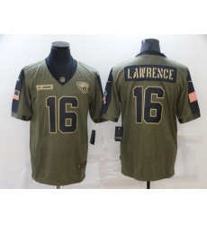 Men's Jacksonville Jaguars #16 Trevor Lawrence Nike Olive 2021 Salute To Service Limited Player Jersey