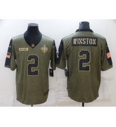Men's New Orleans Saints #2 Jameis Winston Nike Olive 2021 Salute To Service Limited Player Jersey