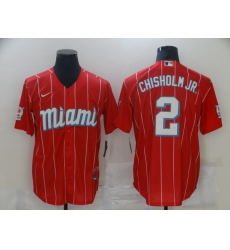 Men's Miami Marlins #2 Jazz Chisholm Nike Red 2021 City Connect Replica Player Jersey