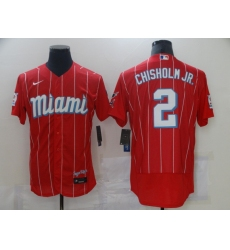 Men's Nike Miami Marlins #2 Jazz Chisholm Red 2021 City Connect Replica Jersey