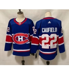 Men's Montreal Canadiens #22 Cole Caufield Blue 2020-21 Reverse Retro Alternate Hockey Jersey