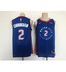 Men's Detroit Pistons #2 Cade Cunningham Blue 2021 City Player Jersey