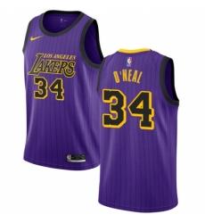 1ae7f1c8a Men s Nike Los Angeles Lakers  34 Shaquille O Neal Swingman Purple NBA  Jersey - City