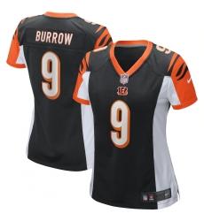 Women's Cincinnati Bengals #9 Joe Burrow Nike Black 2020 NFL Draft First Round Pick Game Jersey.webp