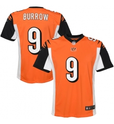 Youth Cincinnati Bengals #9 Joe Burrow Nike Orange 2020 NFL Draft First Round Pick Game Jersey.webp