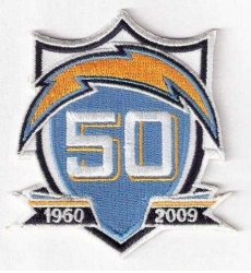 Stitched San Diego Chargers 50th Anniversary Jersey Patch