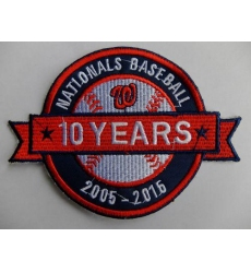 Stitched 2015 Washington Nationals Baseball 10th Anniversary Years Jersey Sleeve Patch
