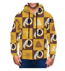 Redskins Team Ugly Christmas Men's Zip Hooded Sweatshirt