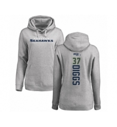 Football Women's Seattle Seahawks #37 Quandre Diggs Ash Backer Pullover Hoodie