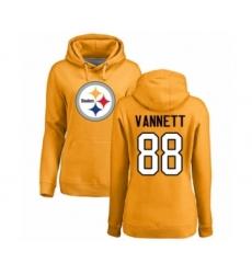 Women's Pittsburgh Steelers #88 Nick Vannett Gold Name & Number Logo Pullover Hoodie
