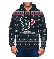 Texans Team Christmas Ugly Men's Zip Hooded Sweatshirt