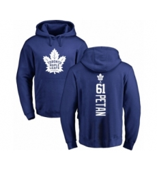 Hockey Toronto Maple Leafs #61 Nic Petan Royal Blue Backer Pullover Hoodie