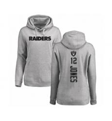 Football Women's Oakland Raiders #12 Zay Jones Ash Backer Pullover Hoodie