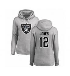 Football Women's Oakland Raiders #12 Zay Jones Ash Name & Number Logo Pullover Hoodie
