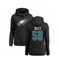 Women's Philadelphia Eagles #50 Duke Riley Black Name & Number Logo Pullover Hoodie