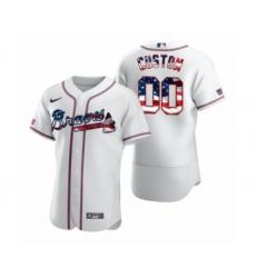 Men's Custom Atlanta Braves White 2020 Stars & Stripes 4th of July Jersey