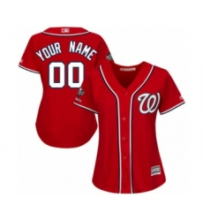 Women's Washington Nationals Customized Authentic Red Alternate 1 Cool Base 2019 World Series Champions Baseball Jersey