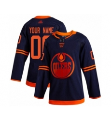 Men's Edmonton Oilers Customized Authentic Navy Blue Alternate Hockey Jersey