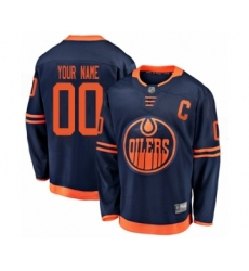 Youth Edmonton Oilers Customized Authentic Navy Blue Alternate Fanatics Branded Breakaway Hockey Jersey