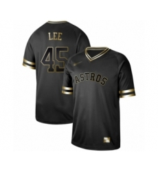 Men's Houston Astros #45 Carlos Lee Authentic Black Gold Fashion Baseball Jersey