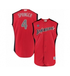 Men's Houston Astros #4 George Springer Authentic Red American League 2019 Baseball All-Star Jersey