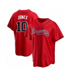 Men's Chipper Jones #10 Atlanta Braves Red Replica Alternate Jersey