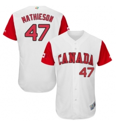 Men's Canada Baseball Majestic #47 Scott Mathieson White 2017 World Baseball Classic Authentic Team Jersey