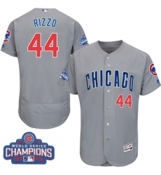 3c103c2df69 Men s Majestic Chicago Cubs  44 Anthony Rizzo Grey 2016 World Series  Champions Flexbase Authentic Collection