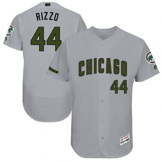 309e50eade3 Men s Majestic Chicago Cubs  44 Anthony Rizzo Grey Memorial Day Authentic  Collection Flex Base MLB
