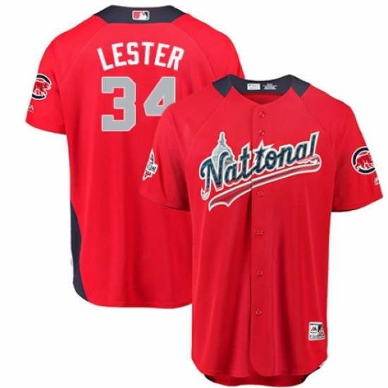 37de2a279 Men s Majestic Chicago Cubs  34 Jon Lester Game Red National League 2018 MLB  All-