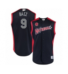 Men's Chicago Cubs #9 Javier Baez Authentic Navy Blue National League 2019 Baseball All-Star Jersey