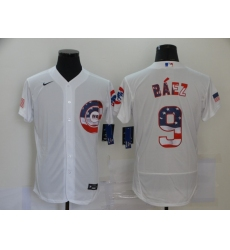 Men's Nike Chicago Cubs #9 Javier Baez White 2020 Stars & Stripes 4th of July Jersey