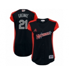 Women's Arizona Diamondbacks #21 Zack Greinke Authentic Navy Blue National League 2019 Baseball All-Star Jersey