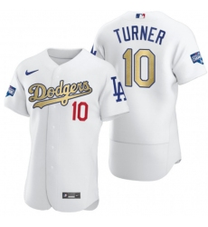 Men's Los Angeles Dodgers #10 Justin Turner Olive Gold 2020 World Series Champions Authentic Jersey