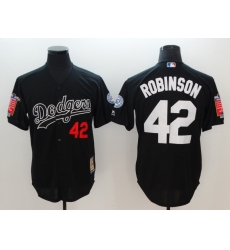 Men's Los Angeles Dodgers #42 Jackie Robinson Black Throwback Jersey