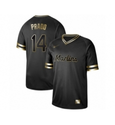 Men's Miami Marlins #14 Martin Prado Authentic Black Gold Fashion Baseball Jersey