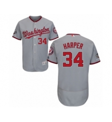 Men's Washington Nationals #34 Bryce Harper Grey Road Flex Base Authentic Collection 2019 World Series Champions Baseball Jersey