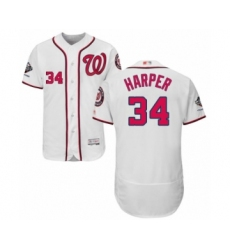 Men's Washington Nationals #34 Bryce Harper White Home Flex Base Authentic Collection 2019 World Series Champions Baseball Jersey