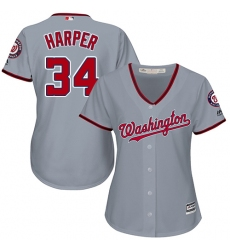Women's Majestic Washington Nationals #34 Bryce Harper Authentic Grey Road Cool Base MLB Jersey