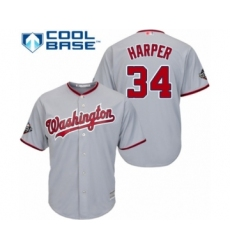 Youth Washington Nationals #34 Bryce Harper Authentic Grey Road Cool Base 2019 World Series Bound Baseball Jersey